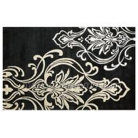 Buy cheap Latex Cotton Canvas Backed Black Floral Area Rug, Acrylic Hand-tufted Rugs from wholesalers
