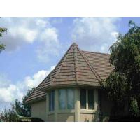 Buy cheap shingle brown and golden colored sand coated metal roofing tile from wholesalers