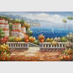 Buy cheap Handmade Mediterranean Landscape Oil Painting Garden Scene Oil Painting for Decor from wholesalers