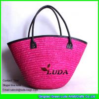 Buy cheap LUDA drawstring bags pink beach totes women wheat straw beach bags from wholesalers