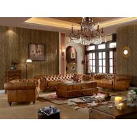 China Chesterfield Tan Brown Soft Leather Sofa Set Antique Industrial Style For Living Room on sale
