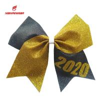Buy cheap Golden And Grey Sparkle Football Cheer Bows / Vivid Birthday Cheer Bow from wholesalers