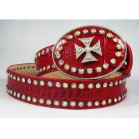 Buy cheap Unique western belt with heart crown studded round buckle from wholesalers