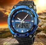 Buy cheap Men Boy Solar Powered Dual Time Zones Waterproof Sport Wrist Watch Analog and Digital Watch 1049 from wholesalers