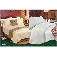 Buy cheap Custom 100 % Cotton Full Size White Solid Color Dyed Hotel Bed Set from wholesalers