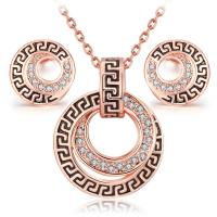 Buy cheap Rose gold /gold /silver plated engraved pendant necklace earring jewelry sets for her or him from wholesalers