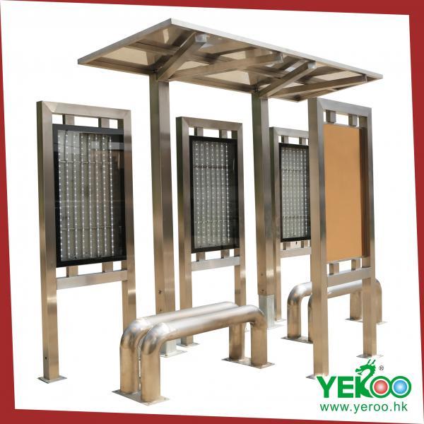 Steel Bus Shelters : Solar advertising stainless steel bus shelter