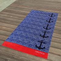 Buy cheap Cabana Blue And Red Striped Towel , Black Anchor Beach Towel 15 Colours from wholesalers