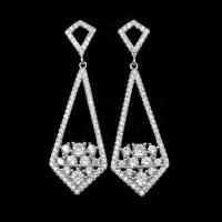 Buy cheap Women Tassel Design Silver Cubic Zirconia Earrings With Real White Gold Plated product
