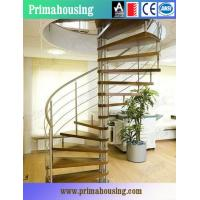 Buy cheap Wood Tread Steel Railing Loft Spiral Staircase For Small Places Space Saving from wholesalers
