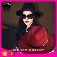 Buy cheap 2017 NEW style YIWU fedora boater 57cm 100% Wool felt cowboy cowgirl womens party summer straw hats from wholesalers