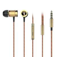 China Active Noise Cancelling Wired Earbuds Metal Movement With Wheat 3.5mm Plug Gold Gray on sale