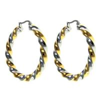 Buy cheap Korea style Two-tone Color Stainless Steel Twisted Hoop Earrings, SGS E001 Stainless Steel Hoop Earrings from wholesalers