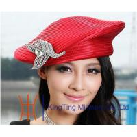 Buy cheap Beret Red / Silver Satin Braid Ladies Church Hats , womens easter hats for Dress from wholesalers