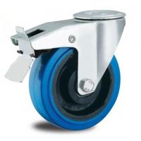 China 8 inch bolt hole locking rubber castors on sale