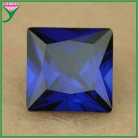 Buy cheap factory price 7*7mm square synthetic 34# blue corundum gems, blue sapphire gemstone from wholesalers