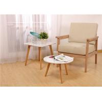 Buy cheap White Oak Wood Round Solid Wood Side Table Wood And Glass Environment - Friendl from wholesalers