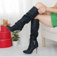 Buy cheap Hot fashion Women lady black high heel knee party wedding boots shoes US5-8 BO06 from wholesalers