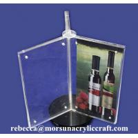 Buy cheap Rotatable Acrylic Magnetic Menu Holder 3 Side Plexiglass Post Holder from wholesalers