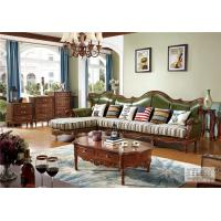 Buy cheap Classic Wood Frame Fabric Antiqued Leather Sofa from wholesalers