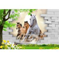 High Glossy Surface 3D Bamboo Interior Wall Panels Horses 300cm X 200cm