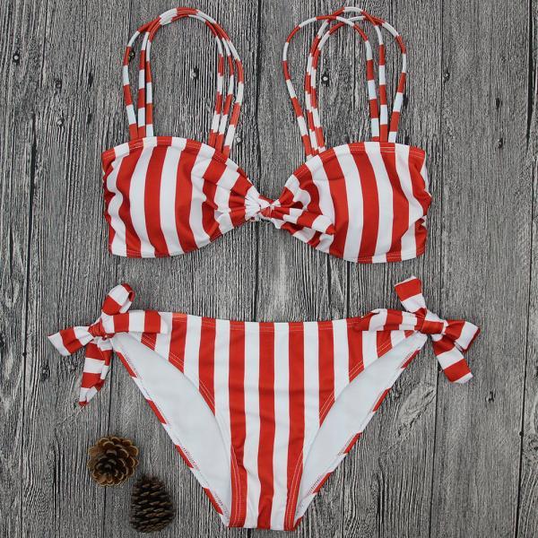 Buy cheap Wholesale and Retail 2018 Women Sexy Striped Bowknot Brazilian Bikini Set from wholesalers