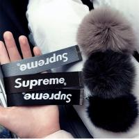 Buy cheap Supreme Keychain candy color Rope Keyring with Mink fur ball for bag phone accessories from wholesalers