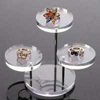 Buy cheap Clear Round Button Acrylic Jewelry Display Stands 3 Layer For Earring Necklace Ring from wholesalers