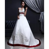 Buy cheap White Elegant Embroidered around the neck Wedding Dresses with Open back , Red Edge from wholesalers