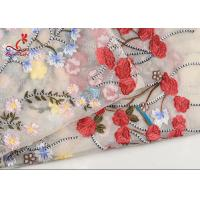 Buy cheap French Bride Colorful Embroidered Fabric Tulle Mesh Lace High Color Fastness from wholesalers