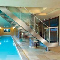 Buy cheap internal straight stainless steel structural glass staircase from wholesalers