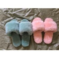 Open Toe Durable Women Soft Fuzzy Slippers Breathable With Australia Sheepskin