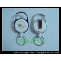 Buy cheap Fashion carabiner round ID badge holder with key ring and belt clip from wholesalers