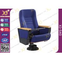 Buy cheap Solid Wood Armrest Conference Hall Seating Floor Mouted Auditorium Chairs With Writing Pad from wholesalers