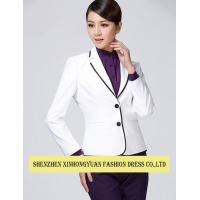 Buy cheap Cotton Corporate Office Uniforms With Womens White Blazer Jacket Ladies Uniform Shirts from wholesalers