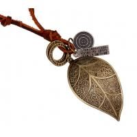 Buy cheap Big leaf head layer cowhide necklace restoring ancient ways Leather necklace from wholesalers
