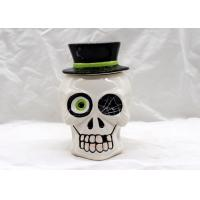 Buy cheap Large Ceramic Skull Cookie Jar , Halloween Decoration Dolomite White Cookie Jar With Lid from wholesalers