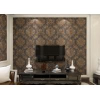 China Removable Victorian Damask Wallpaper Embossed Black and Golden Pattern , 0.53*10m/ roll on sale