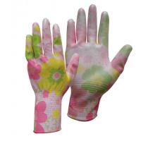 Buy cheap private label flower print pu coated anti static working gloves from wholesalers