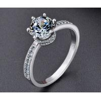Buy cheap New design crown 925 silver six claw set zircon ring female Korean version of fashion simulation diamond ring sterlling from wholesalers