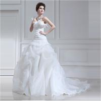Buy cheap Long trail Tulle halter ruffled One Shoulder Wedding Gowns with Lotus Leaf Edge from wholesalers