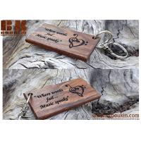 Buy cheap premium quality customized handmade laser engraved wooden key chains 74*38.6*6.2 mm Burlywood from wholesalers
