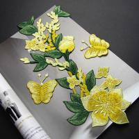 Buy cheap Yellow Flower Sew On Embroidered Patches Lace Appliques For Clothing 14 X 32 CM from wholesalers