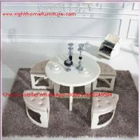 Buy cheap White painting Circular Leisure time tea table and upholstery stool from wholesalers