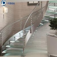 Buy cheap Commercial Indoor Iron Curved Staircase with Glass Railing Designs from wholesalers