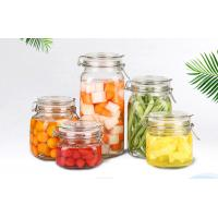 Buy cheap Round Transparent Glass Food Storage Canisters With Silicon Lid Eco Friendly from wholesalers