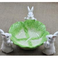 China Creative rabbit fruit tray plate green and white on sale