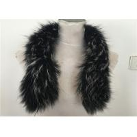 Buy cheap Handmade Black Real Raccon Fur Scarf , 80cm Length Fur Neck Warmer from wholesalers