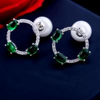 Buy cheap Luxury elegant gemstone silver plated pearl loop shape stud earring from wholesalers