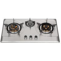 Silver Stainless Steel 3 Burner Gas Hob , Built In 3 Burner Stainless Steel Gas Stove